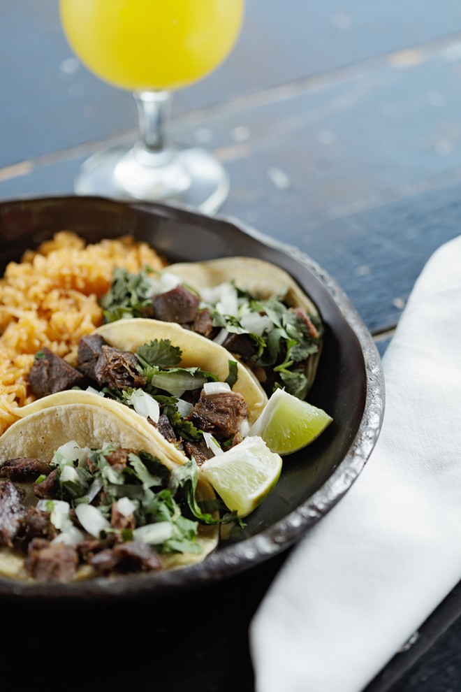 Lengua tacos from Tacos Tumbras are photographed for the Dining Out Guide. - YOUNG KWAK