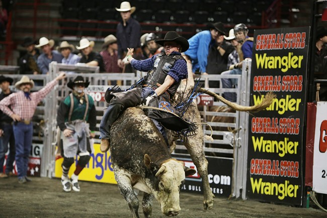 Dakota Beck, of Moses Lake, Wash., rides 45 Hell Yea during Flight 1, on Saturday. Beck scored 81 on this ride and won the overall event with a score of 179 from the previous night. - YOUNG KWAK