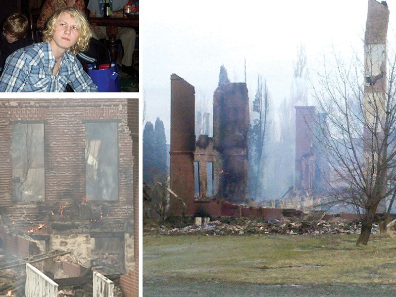 Daniel Uhnak and the remains of the Sisters' Building fire - COURTESY KXLY