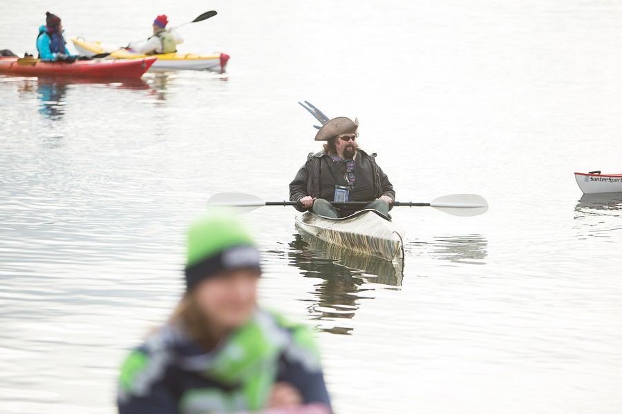 Dave Oestreicher sits in his kayak after watching the Polar Bear Plunge. - YOUNG KWAK