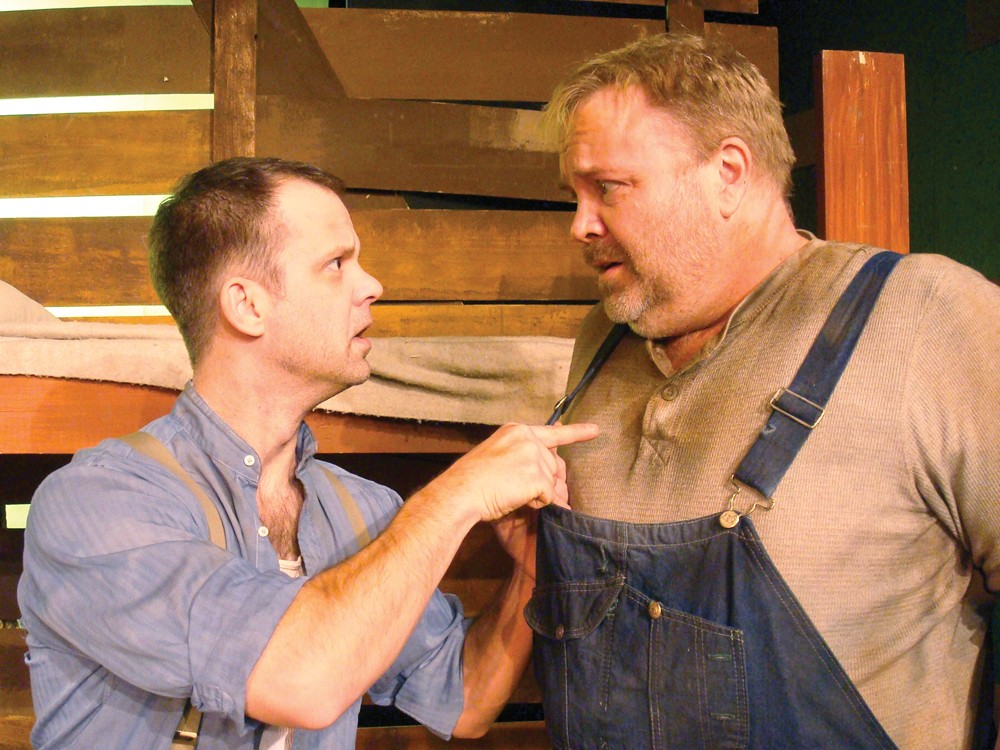 David Gigler (right) as Lennie in a 2011 performance of Of Mice and Men.