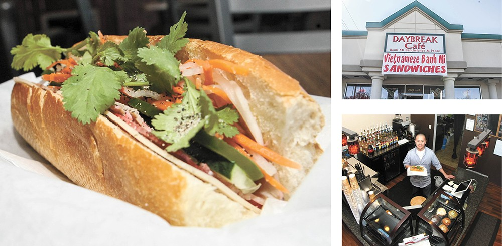 Daybreak owner Thomas Le (bottom right) prides himself on making traditional-style banh mi sandwiches. - MEGHAN KIRK