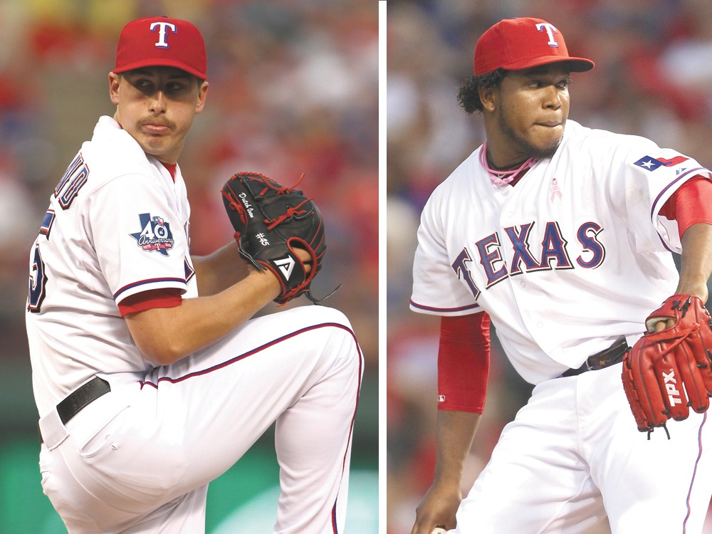 Derek Holand (left) and Neftali Feliz (right) both pitched for the Rangers in last year's World Series.