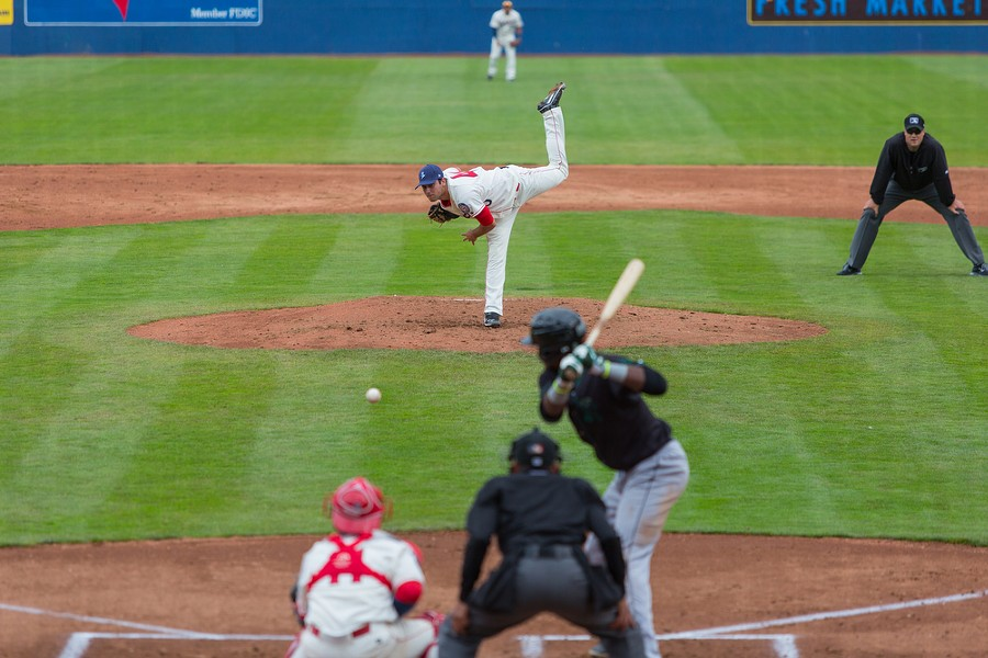 Derek Thompson (40) struck out five players for the Eugene Emeralds on Sunday. The Spokane Indians won 5-2 and are 3-0 for the season. - MATT WEIGAND