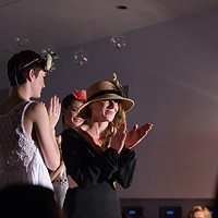 PHOTOS: Olive + Boone Custom Millinery Show Designer Erin Haskell shows her appreciation at the end of the show. Young Kwak