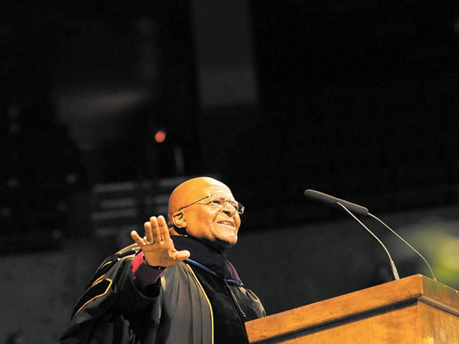 Desmond Tutu at the Arena Sunday - GONZAGA UNIVERSITY / RAJA BOSE