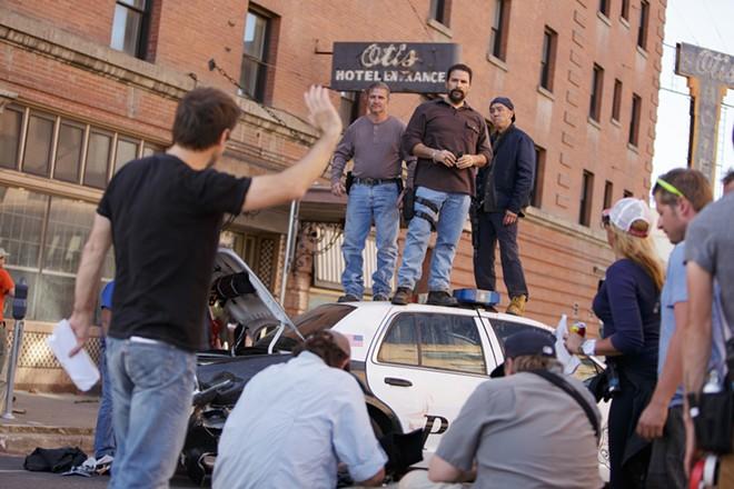 Director Luis Prieto, left, instructs actors. - YOUNG KWAK
