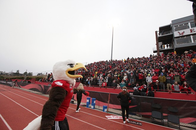 Eastern Washington mascot, Swoop, walks along the sidelines during the second half. - YOUNG KWAK