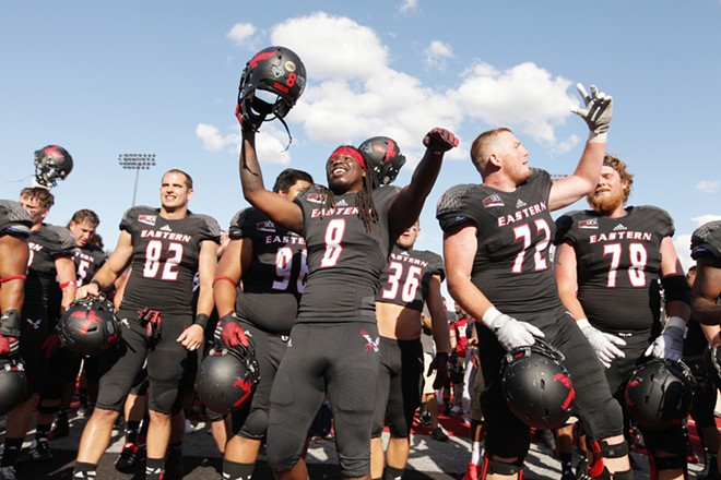 Eastern Washington players celebrate after the game. - YOUNG KWAK