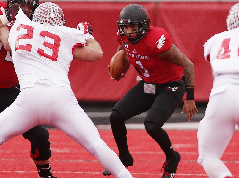 Eastern Washington quarterback Vernon Adams Jr. (3) runs against Illinois State during the first half. - YOUNG KWAK