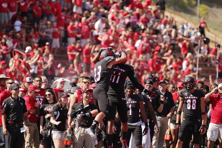 Eastern Washington wide receiver Blair Bomber (23) and wide receiver Kendrick Bourne (11) celebrate after Bomber catches a touchdown during the second half. - YOUNG KWAK