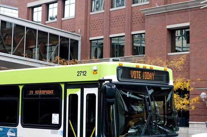 A bus in downtown Spokane.