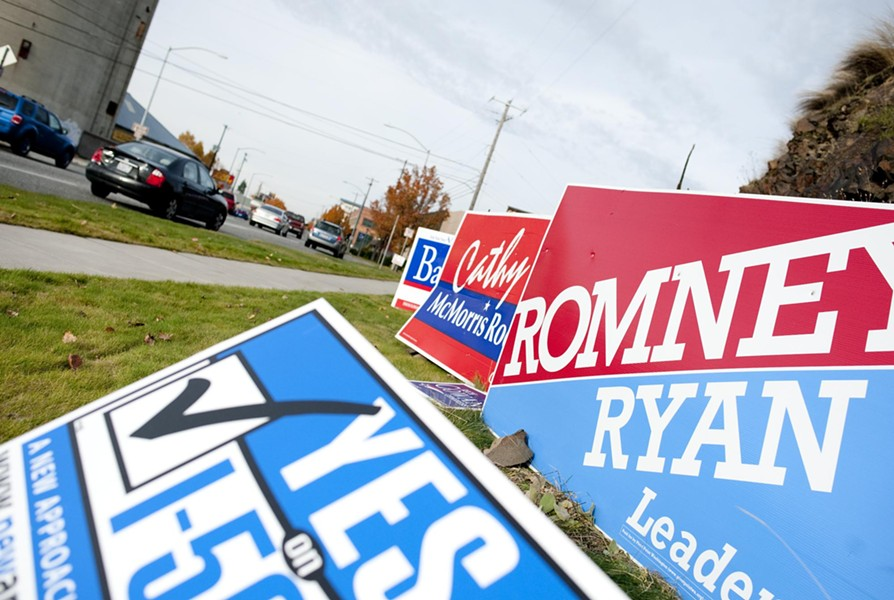 Campaign signs near Ruby and East Cataldo in Spokane.