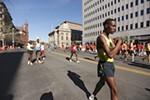 Elite runners warm up.