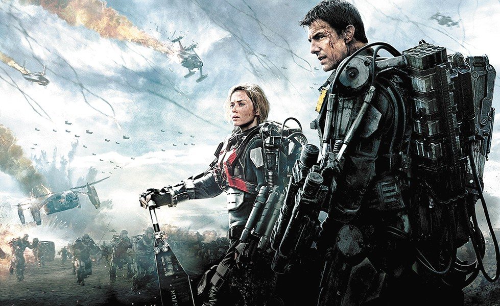 Emily Blunt and Tom Cruise live the same gruesome day over and over again.