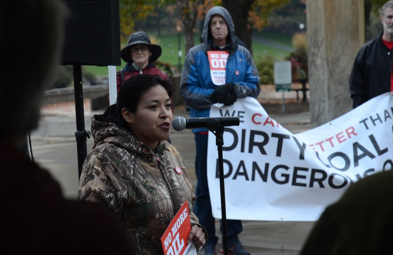 Twa-le Abrahamson, with the Spokane Tribe, tells the assembled rally that oil industry priorities conflict with local values. - JACOB JONES