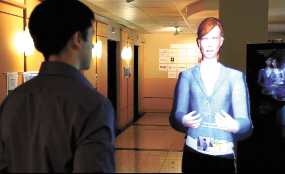 Erin, a lifesize hologram, uses Next IT software to speak. - NEXT IT