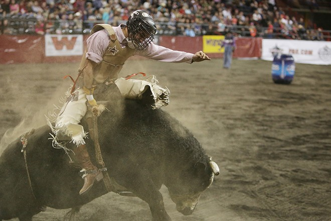 Ezekial Mora, of Wiggins, Colo., rides bull Z710 during Flight 4 on Saturday. He rode 2.06 seconds before falling off the bull. - YOUNG KWAK