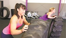 YOUNG KWAK - Farmgirlfit owners Jaunessa Walsh (left) and Jenni Niemann power through their regimen.