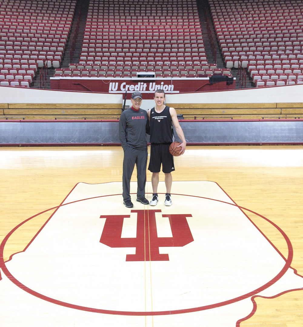 Father and son visiting Indiana University, where EWU won a game against the Hoosiers this season.