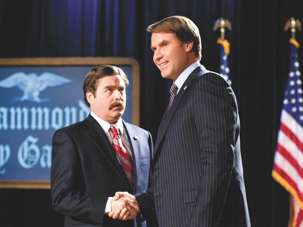 Ferrell and Galifianakis display a textbook passive-aggressive politcal handshake.
