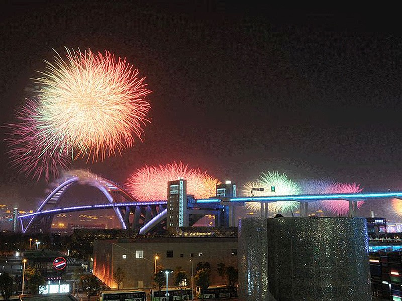 Fireworks marked the opening of the Shanghai World Expo on April 30. - CHINAFOTOPRESS PHOTO/GETTY IMAGES