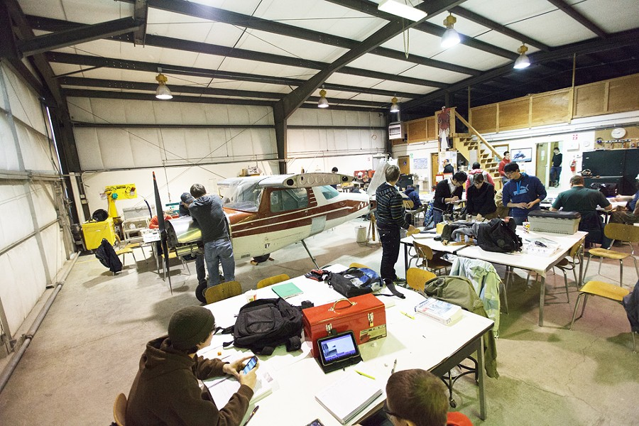 First year students study at the Spokane Community College Aviation Maintenance Technology facility at Felts Field. - YOUNG KWAK