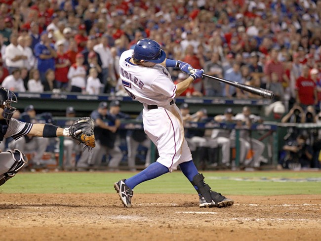 Former Spokane Indian Ian Kinsler at bat for the Texas Rangers
