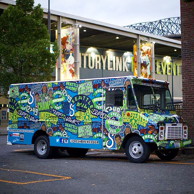 This Fresh Brewed Tees apparel truck rolls through Spokane as part of its #TwelveTour to the Super Bowl.