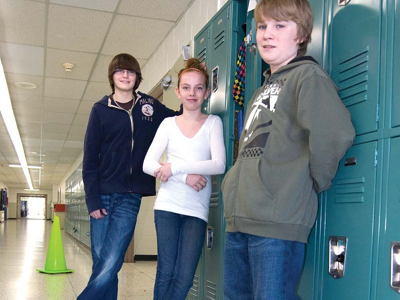 From left, sixth-grader Noah, sixth-grader Drew and seventh-grader Cody - LORETTA SURMA
