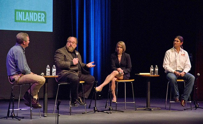 From left to right, Inlander Publisher Ted McGregor moderates the panel with experts Randy Simmons, Hilary Bricken and Matt Cohen. - JACOB JONES