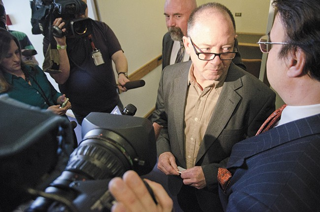 Gail Gerlach briefly addresses reporters following his acquittal on manslaughter charges last week. - JACOB JONES