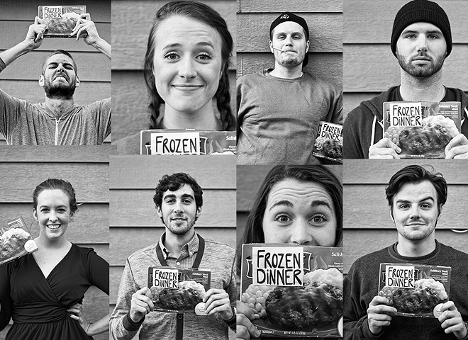 """The cast of """"Frozen Dinner,"""" written and directed by Jeff Rutherford, bottom right. - CAMERON STAHL"""