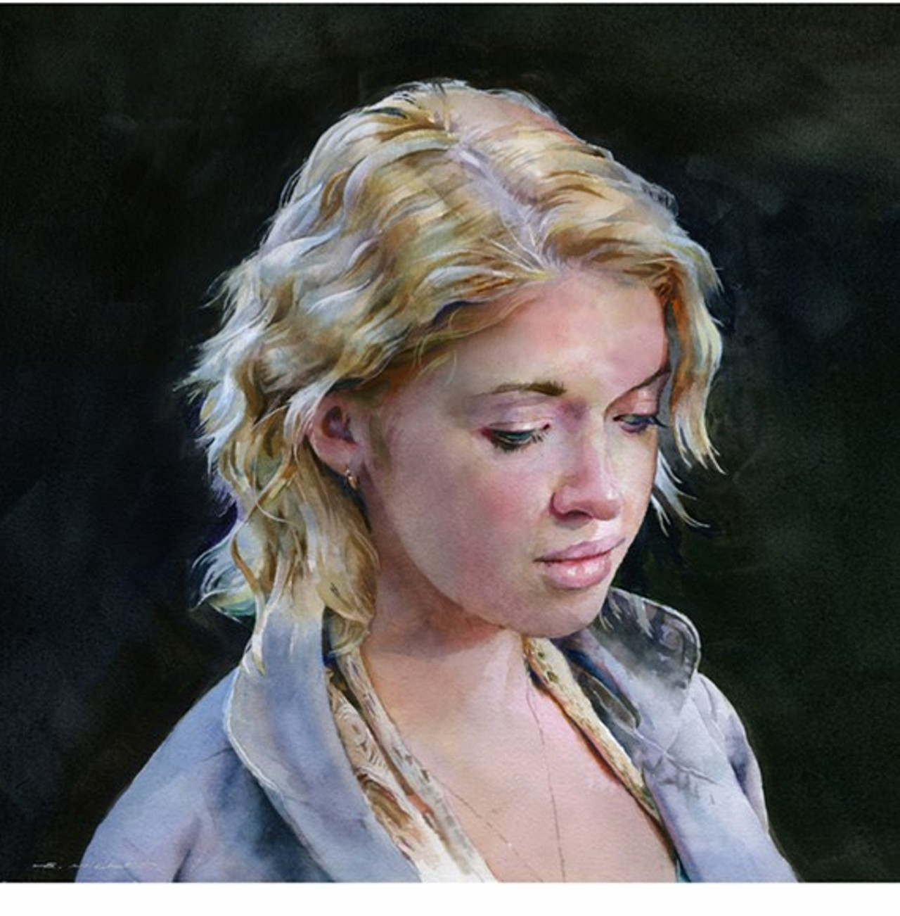 "STAN MILLER ARTIST - ""Grace"" watercolor painting, 14 x 14 inches."