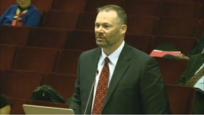 """Greyhound Park Event Center manager Doug Okuniewicz testifies in a March 11 hearing on """"historical horse racing."""""""