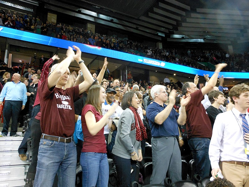 Harvard fans celebrate their upset win. - MIKE BOOKEY