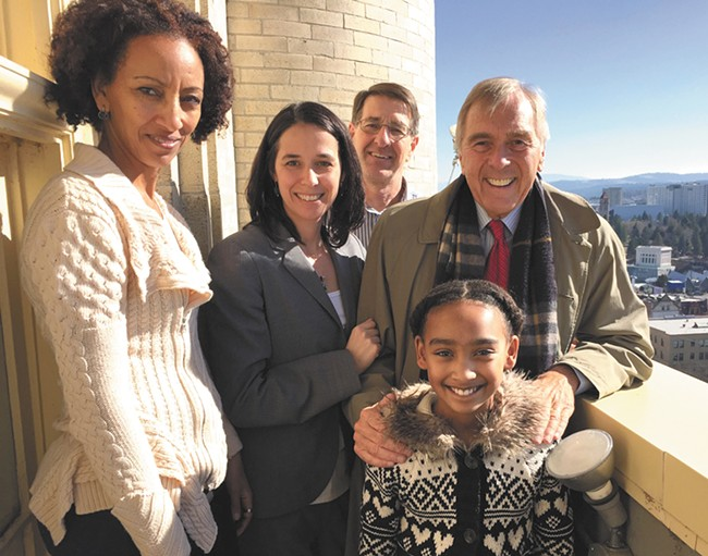 High atop the Spokane County Courthouse, with (left to right) Elizabeth Nega, Shelly O'Quinn, Ron Oscarson, George Nethercutt and fifth-grader Hannah Agwunobi.