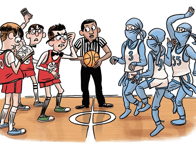 Hoopfest's tradtion of goofy team names could result in an Angry Nirds vs. Blue Prancing Ninjas matchup. - JIM CAMPBELL ILLUSTRATION
