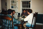 <p>In the fall of 1993, our brain trust met around our kitchen table to plan the launch. Here I am with our first arts editor, Andy Strickman (back to the camera), Jer and Jim Cortner, a special adviser to the <i>Inlander</i> then and now. It seemed like the right thing to do, you know, to meet and stuff, but there was no way to plan for what was to come.</p>