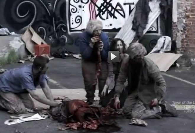 Interrupting a zombie feast behind Scratch. - SYFY