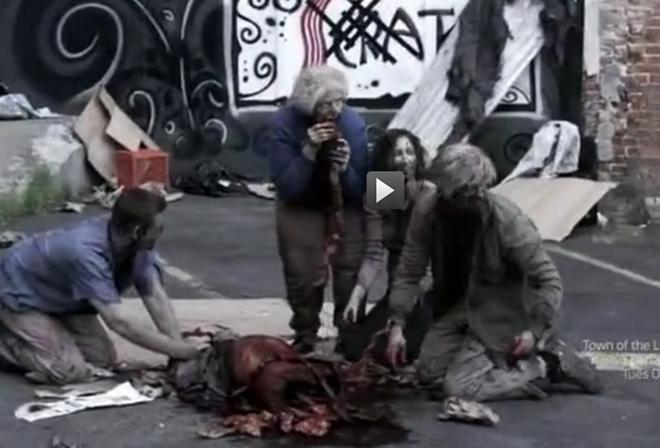 Interrupting a zombie feast behind Scratch. - SYFY