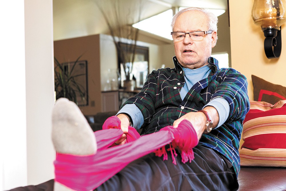 Jack Bunton works on his recovery at home after knee replacement surgery in December. - STEPHEN SCHLANGE