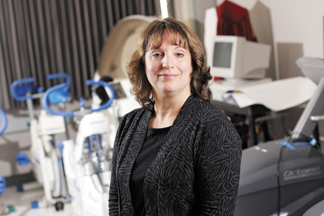 Janet Beary, Washington State University Riverpoint director of dietetics, in the SIRTI lab where subjects take tests to evaluate their body fat and other weight-related health criteria. - YOUNG KWAK
