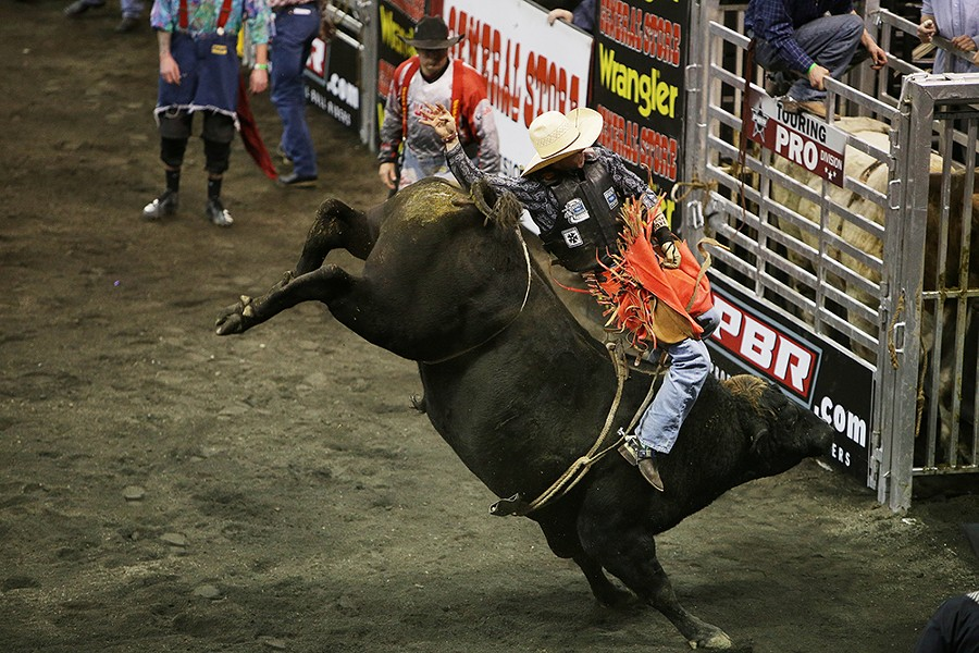 Jason Malone, of San Antonio, Tex., rides Z714, during Flight 2, on Saturday. He rode 3.09 seconds before falling off the bull. - YOUNG KWAK