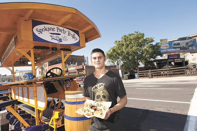 """Jason Sallas, the kitchen manager at Borracho Tacos & Tequileria, one of the stops located on the Spokane Party Trolley's new """"Tasty Pedaler"""" tour. - YOUNG KWAK"""