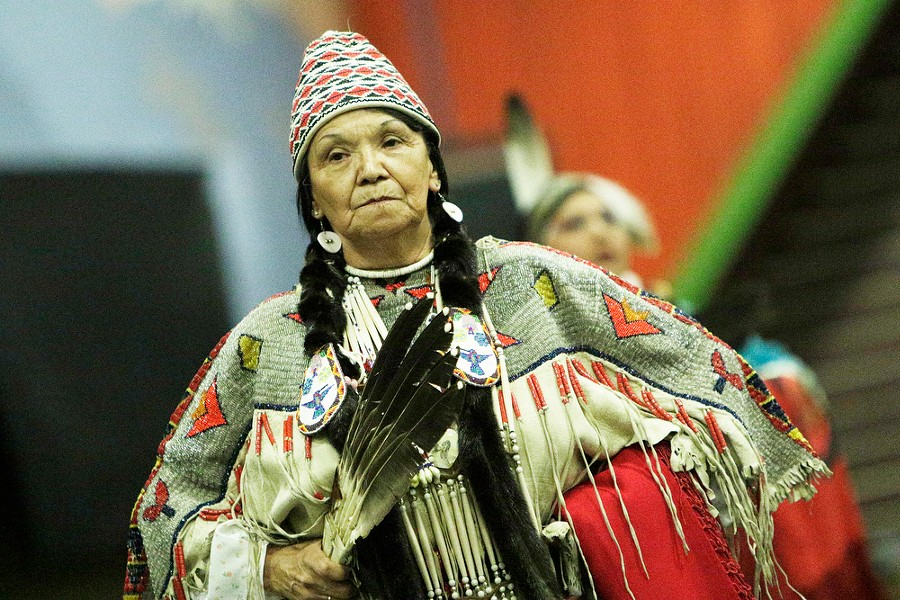 """Norma J. """"Jeanie"""" Louie, of the Coeur d'Alene Tribe, dances. - YOUNG KWAK"""