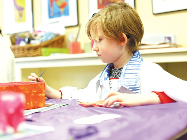 "Jillian, 5, hones her painting skills at a the Spokane Art School\'s ""Let\'s Paint\"" class. - YOUNG KWAK"
