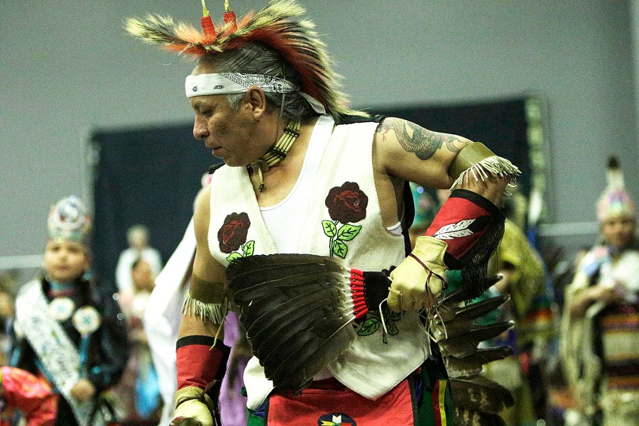 Joe Matt Sr., of the Coeur d'Alene Tribe, dances in the opening procession. - YOUNG KWAK