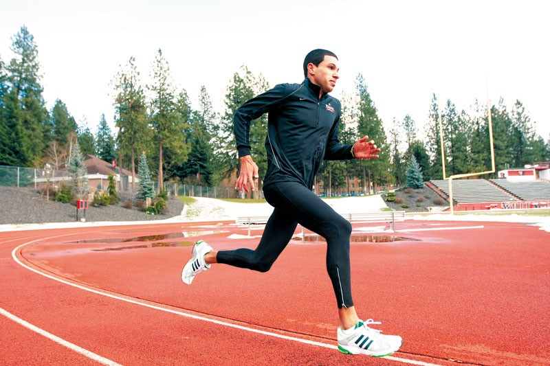 Jordan Jennings, a track-team graduate assistant coach, at the Whitworth oval. - YOUNG KWAK