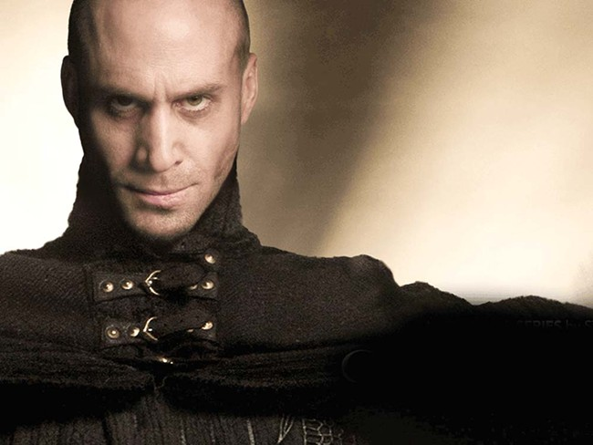 """Joseph Fiennes as Merlin: """"See this frown? It's magic. I will hurt you with my magic frown."""""""